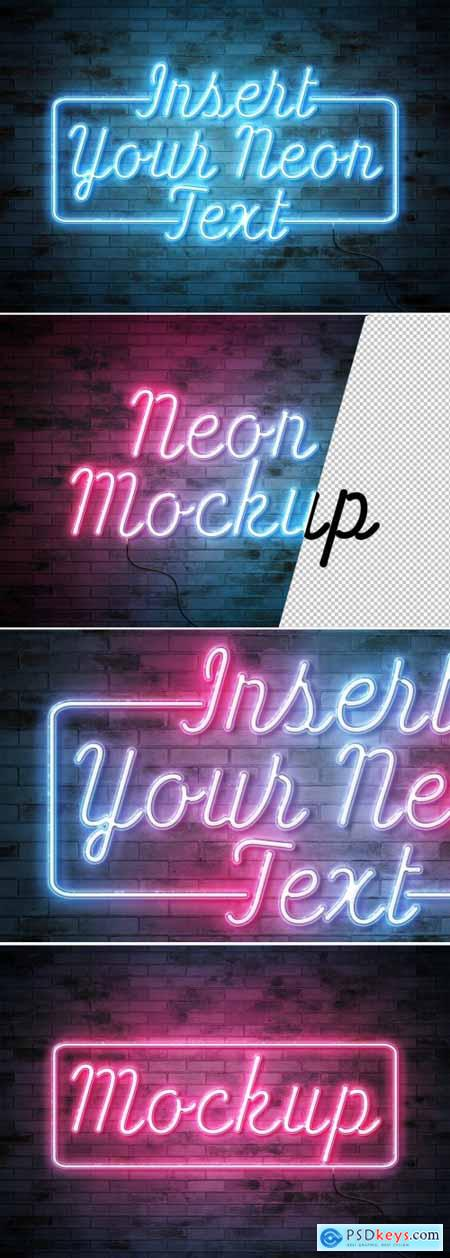 Neon Text Effect on Brick Wall with Wires Mockup 350350694