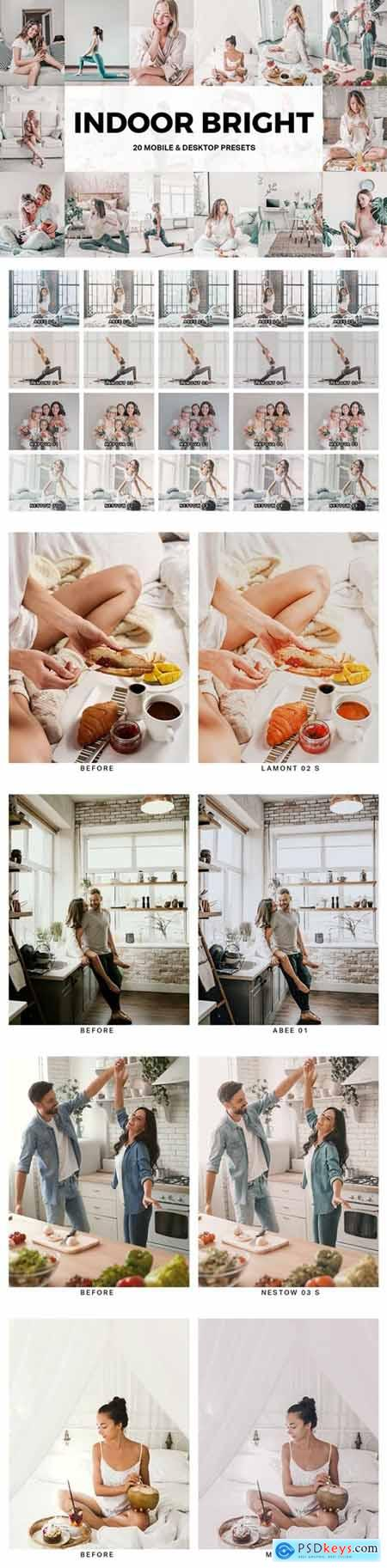 20 Indoor Bright Lightroom Presets and LUTs