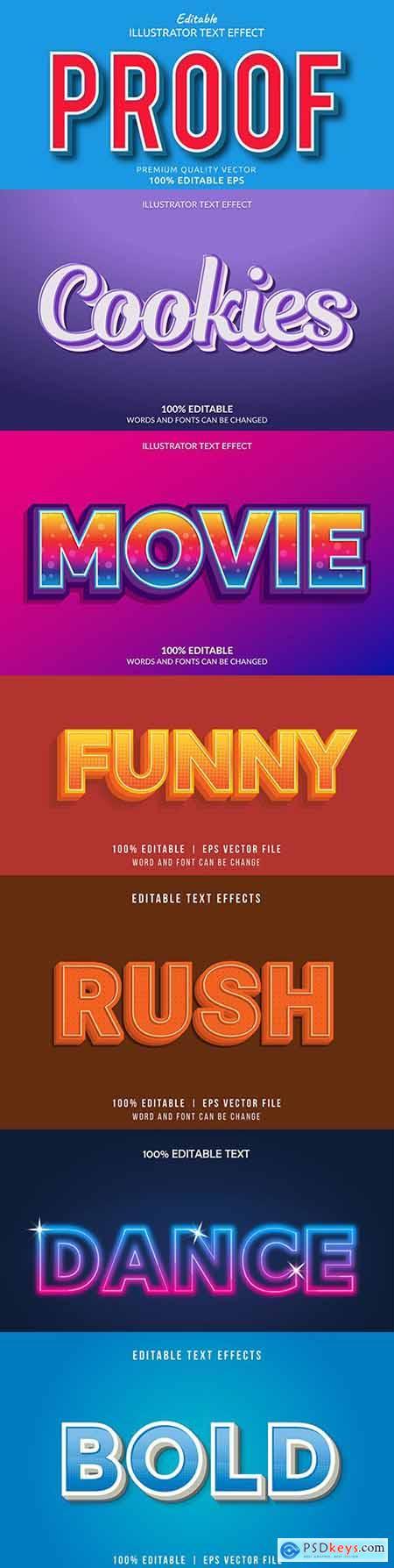 Editable font effect text collection illustration design 102