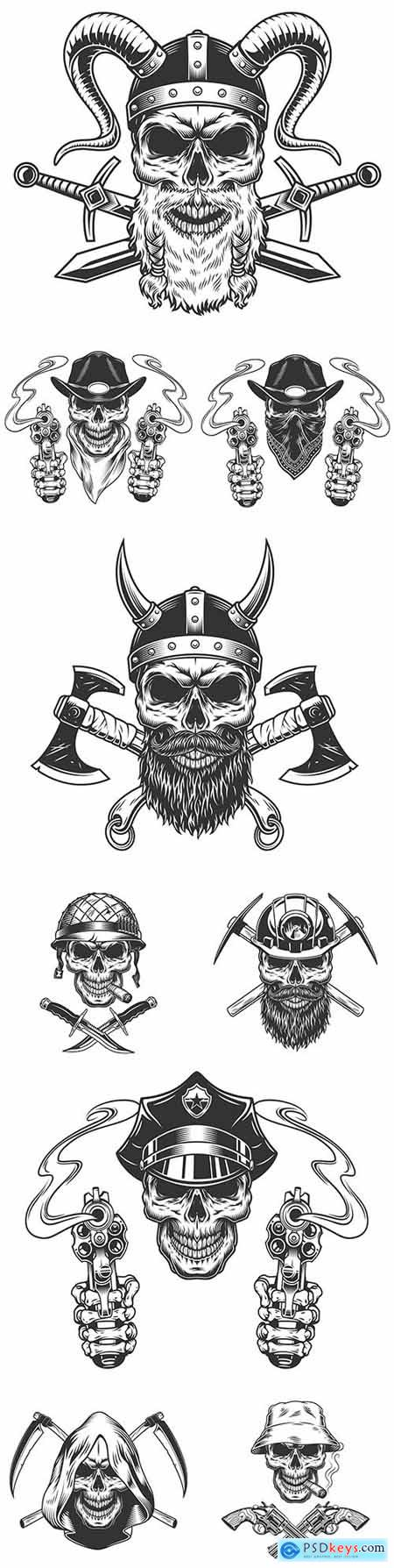 Vintage Viking skull in cowboy hat and gun scarf