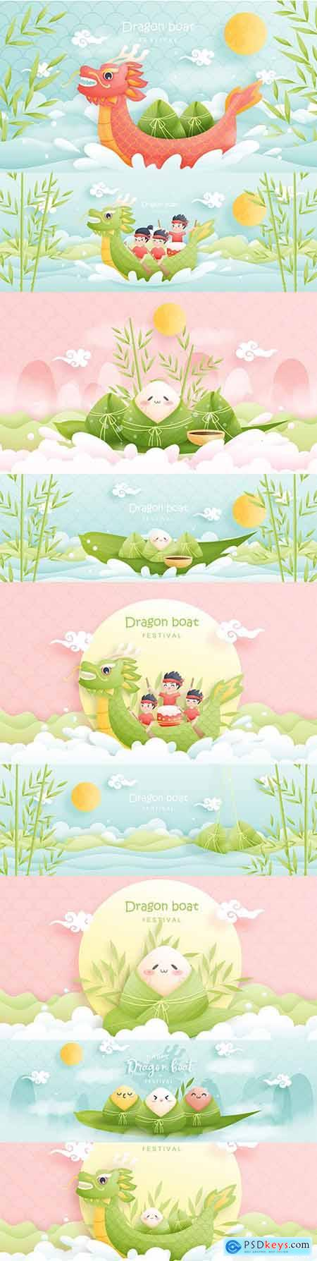 Chinese dragon boat festival with rice claws, cute illustration