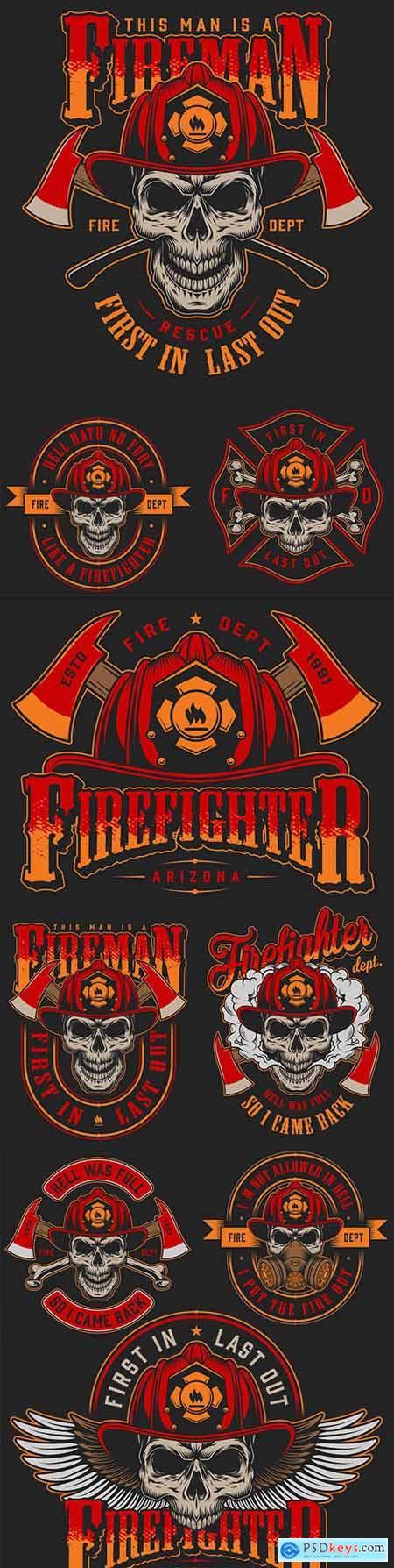 Skull firefighter in helmet design red label vintage