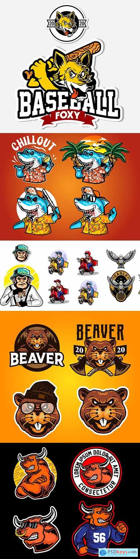 Emblem animal comics mascot design illustration