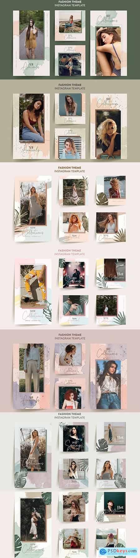 Fashion woman s instagram story template with tropical leaves