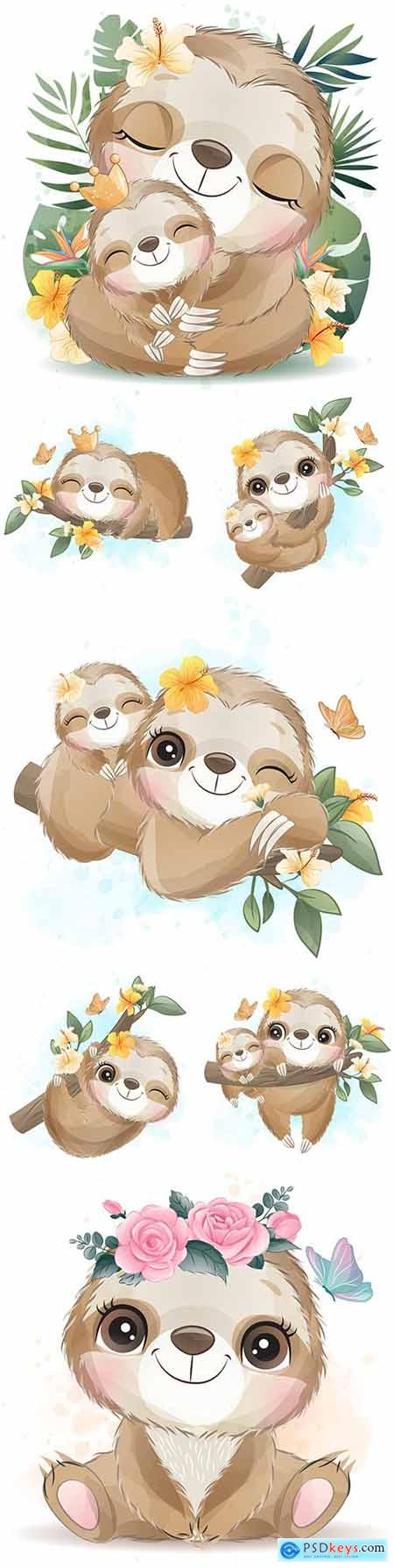 Cute lazy mother and baby with flowers watercolor