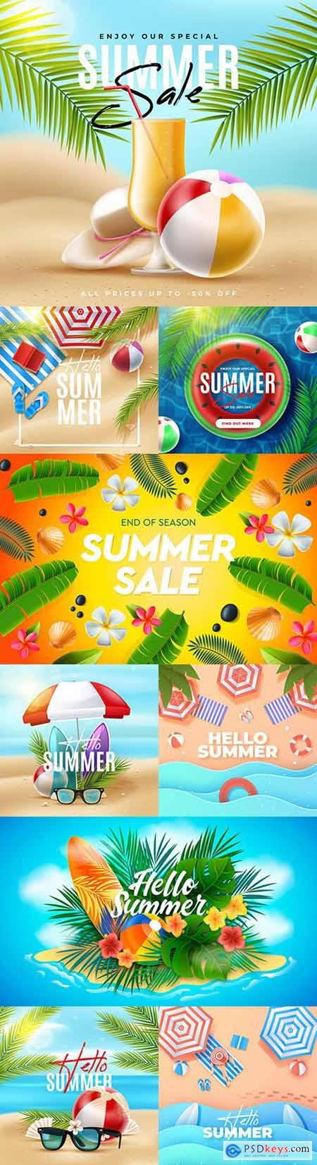 Hello summer sale design with tropical leaves 2