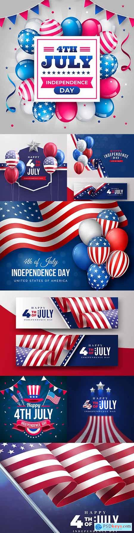 July 4 on Independence Day realistic illustrations
