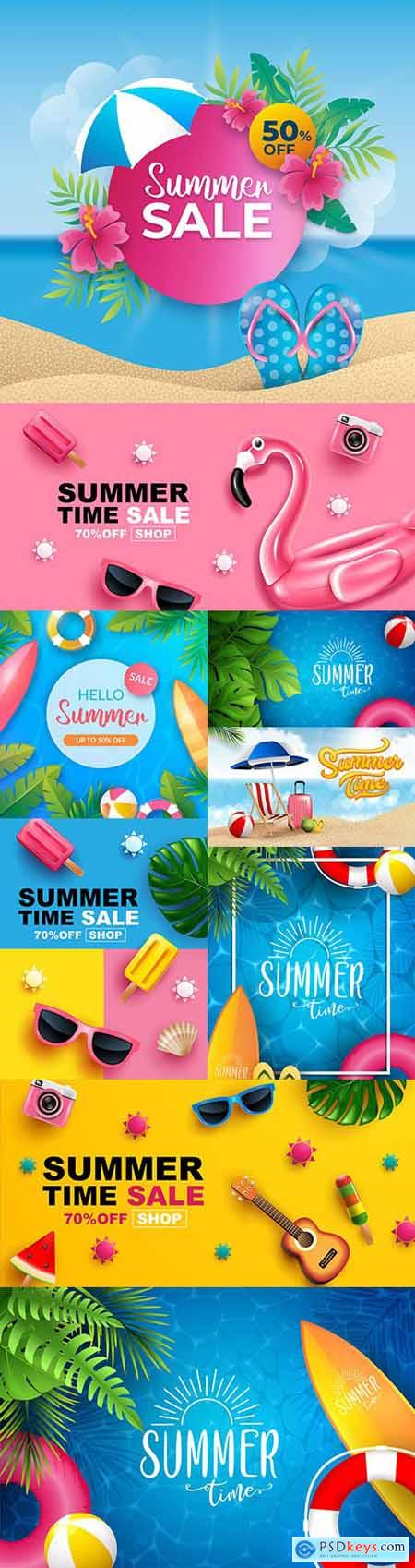 Summer sale banner layout design illustrations