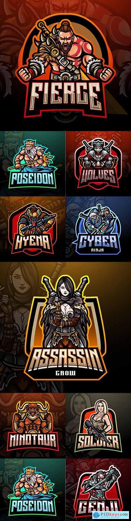 Emblem gaming mascot design cybersport illustration 22