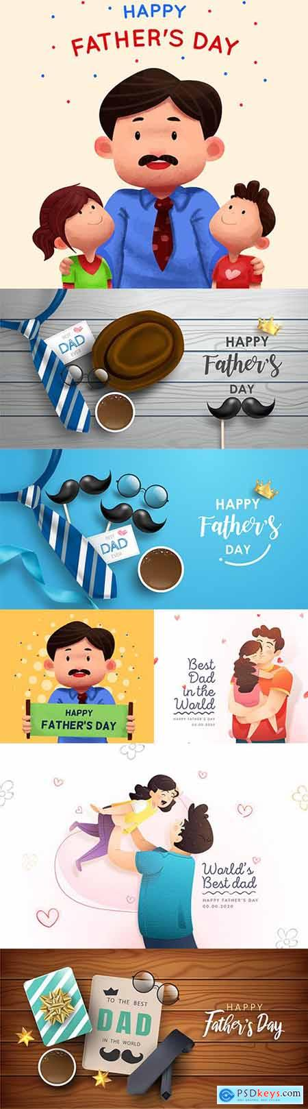 Happy Father s Day design greeting card and banner 5
