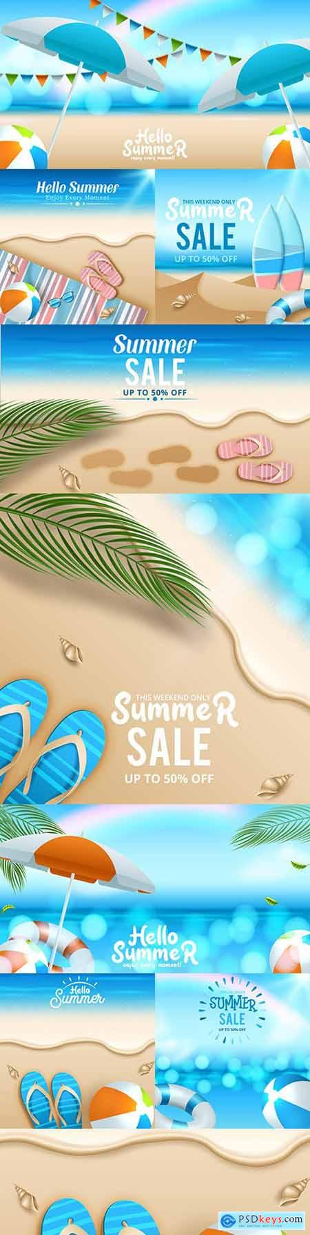 Tropical sea with bright sun summer sale banner design