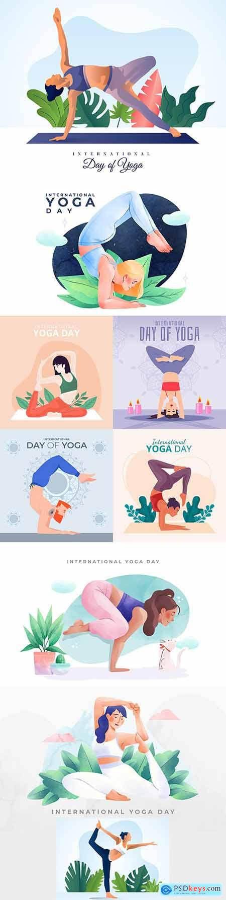 Yoga International day and meditation design illustration 3
