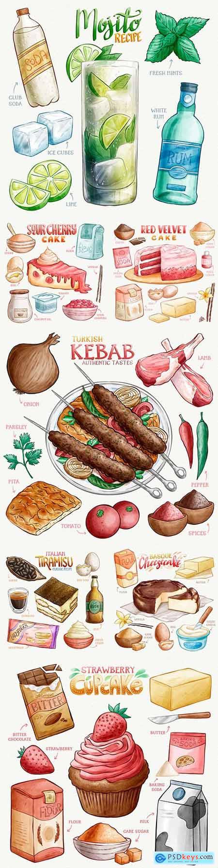 Recipes for preparing delicious watercolor cakes illustration