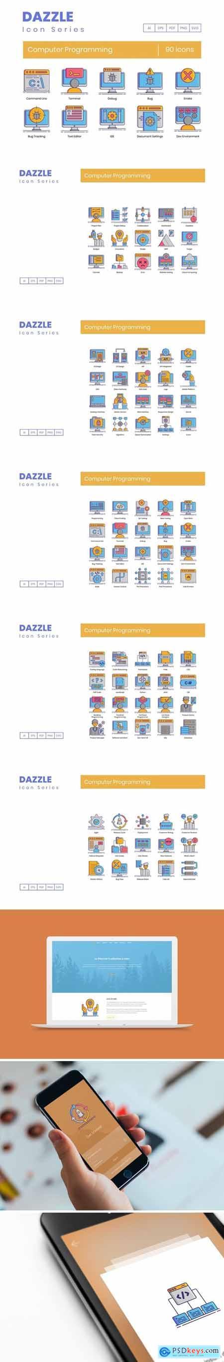 90 Computer Programming Icons - Dazzle Series