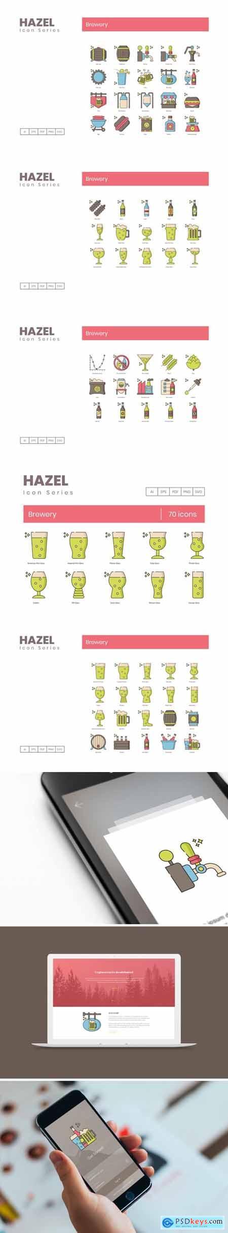 70 Brewery Icons - Hazel Series