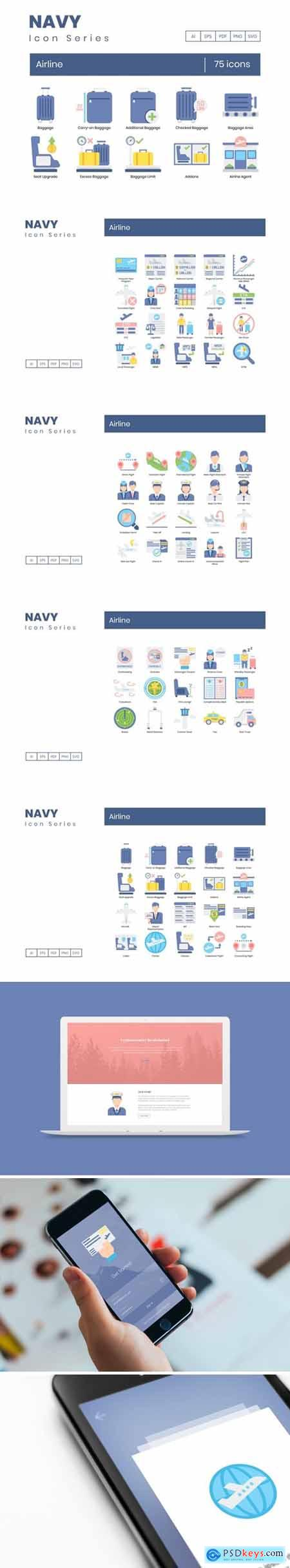 75 Airline Icons - Navy Series