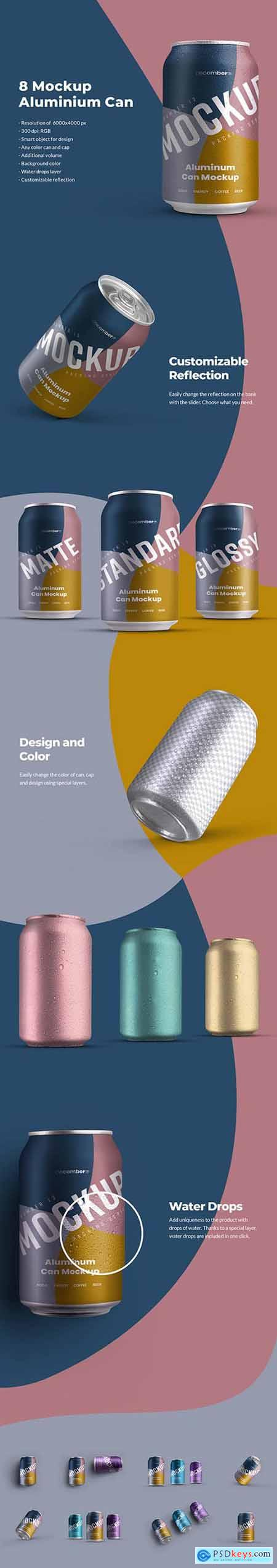 8 Mockup Aluminium Can 330 ml With Water drops