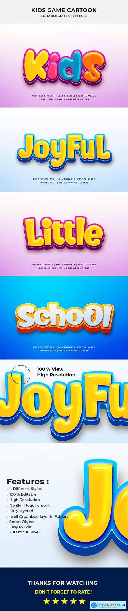 Kids Game Cartoon 3d Text Effect Mockup 26635961