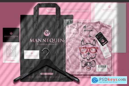 Packaged T-Shirt Branding Scene Mockup