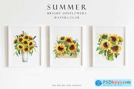 Set of summer bright sunflowers