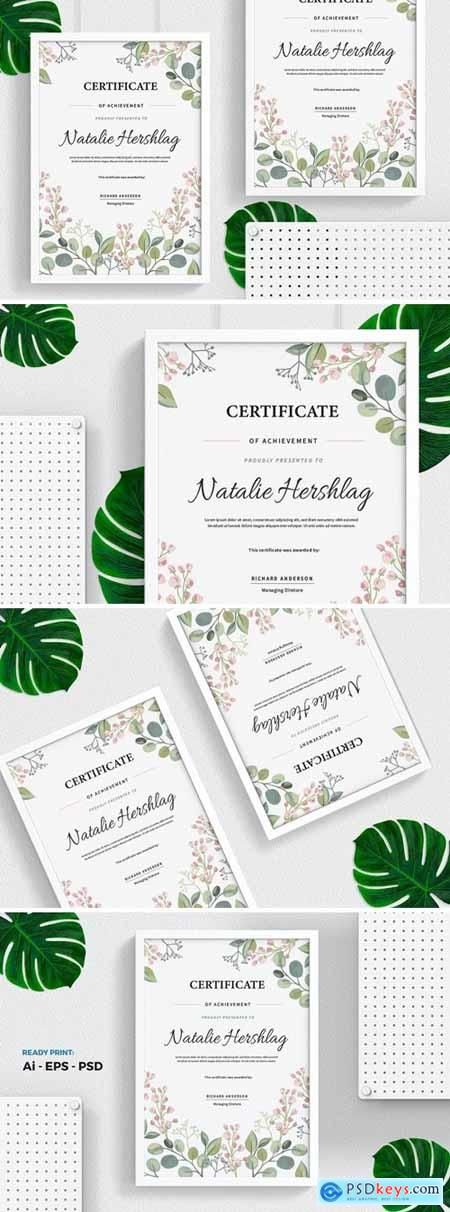 Flower Watercolor Certificate - Diploma Template