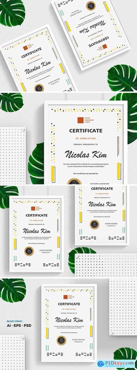 Yellow Dot Certificate - Diploma Template