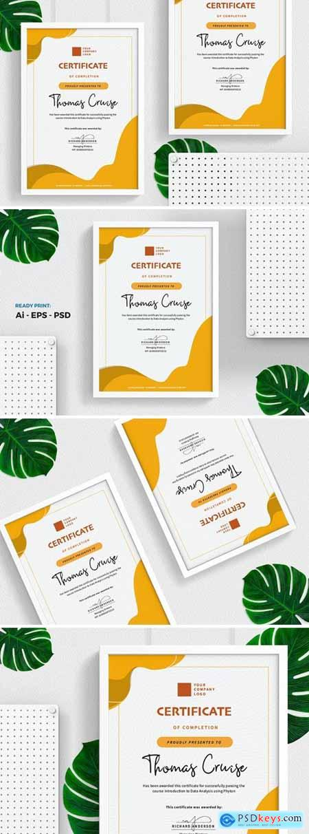 Yellow Certificate - Diploma Template