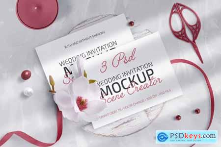 Wedding Invitation Mockup Scene Creator 4981283