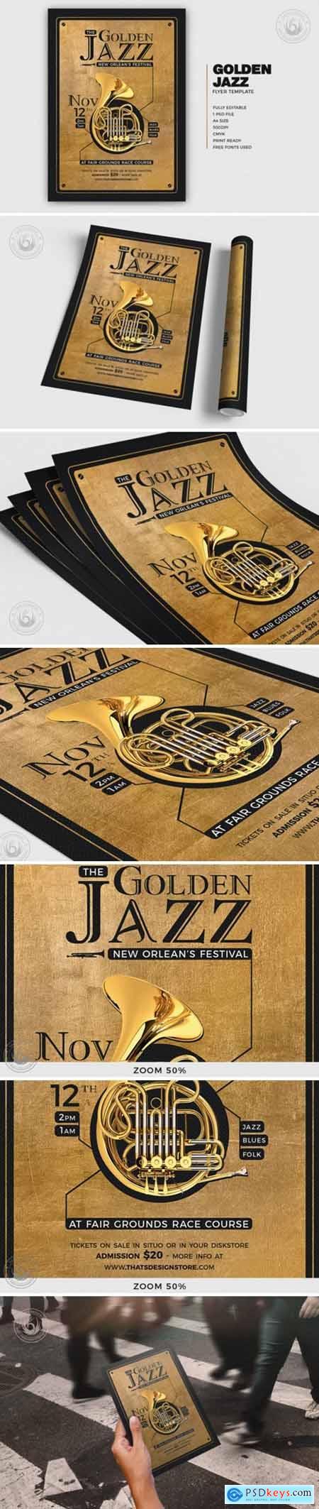 Golden Jazz Flyer Template V4 4164206