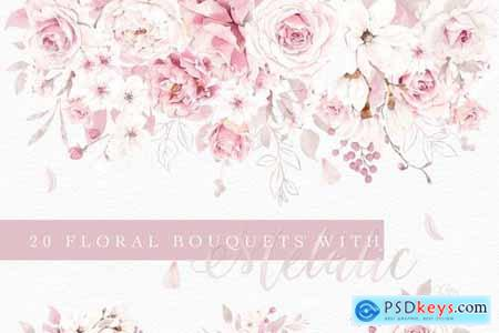Rose Watercolor Clipart & Invitation 4593640