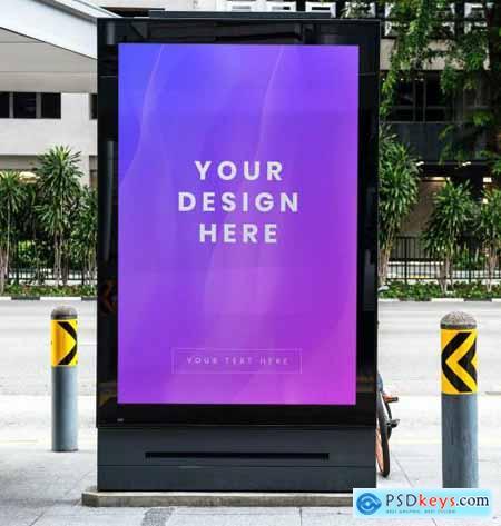 Mockup of a purple advertisement signboard 844147