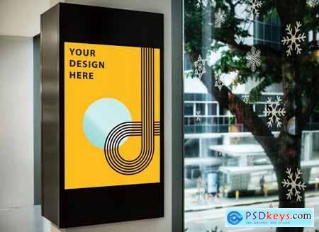 Mockup of a yellow advertisement signboard 844159