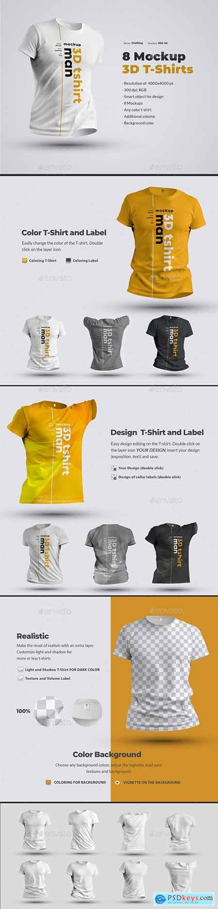 8 Mockups T-Shirts 3d Man 24638907