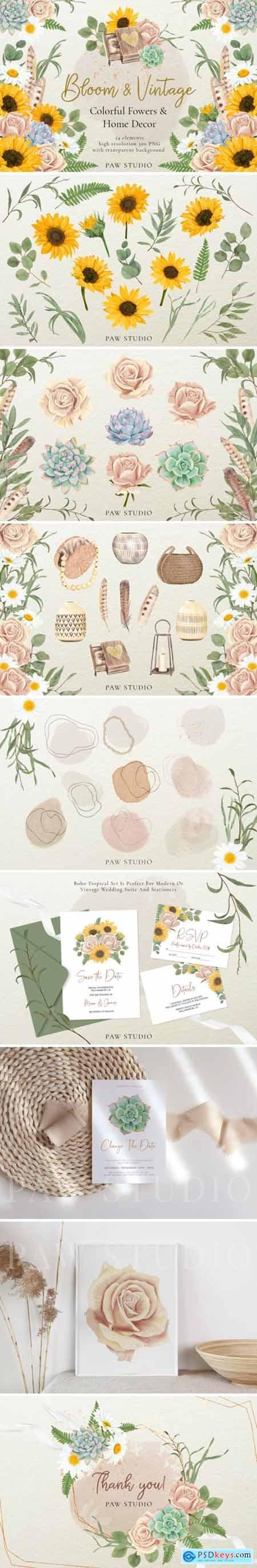 Bloom & Vintage Graphic Flowers, Leaves 4195581