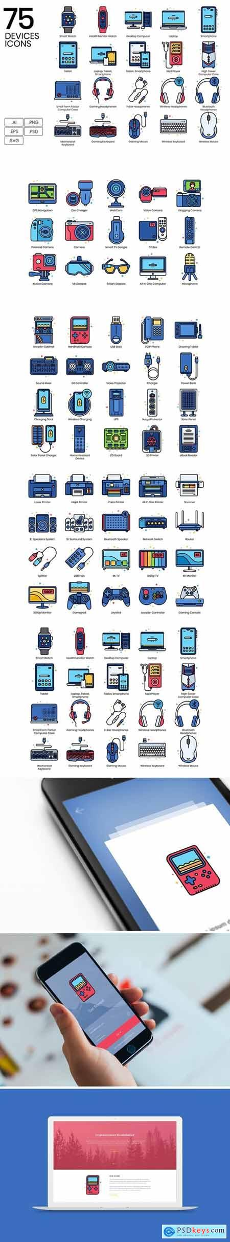 75 Devices Icons - Vivid Series