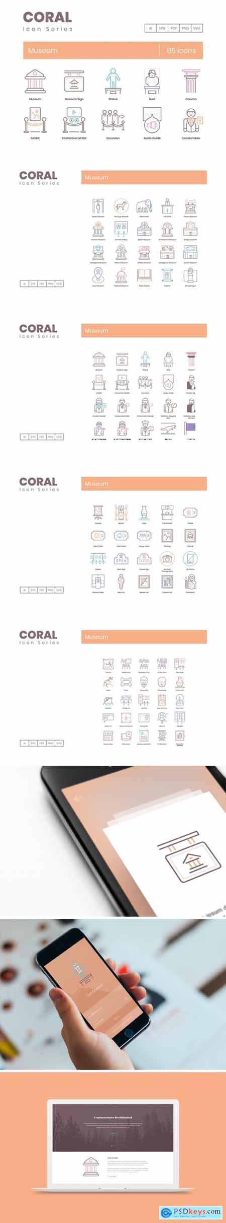 85 Museum Icons - Coral Series