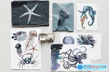 Watercolor ocean creatures set