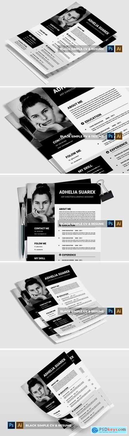 Black Simple - CV & Resume DBV4R5N