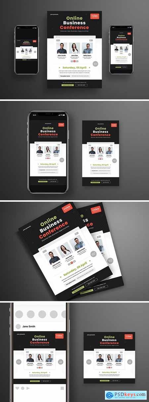 Online Business Conference Flyer Set UMT5TA5