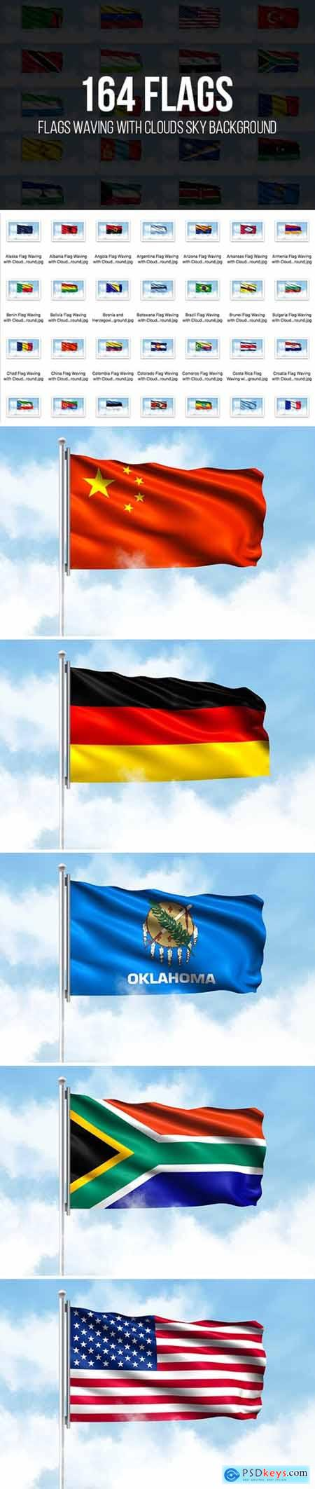 Flags Waving with Clouds Sky Background 4053638