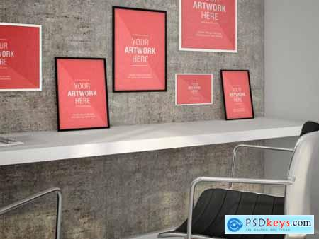 Framed Posters in Office Mockup 353207130