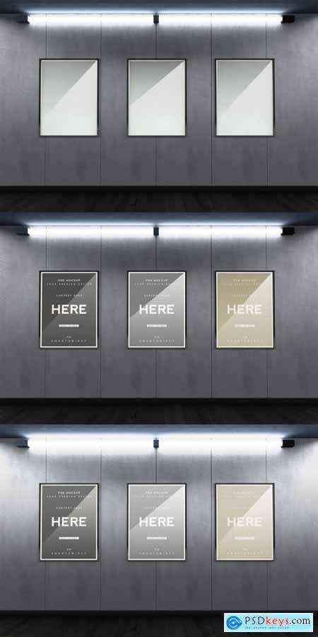 3 Subway Outdoor Frames with Neon Light Mockup 353170365