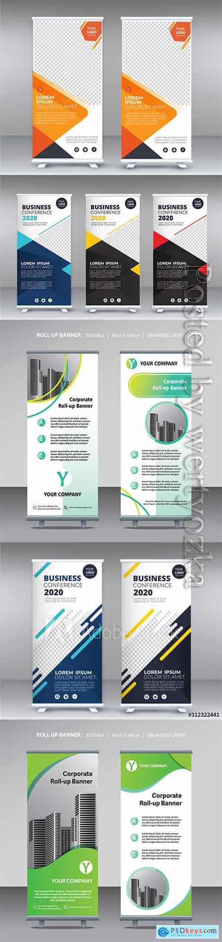 Business roll up banner, stand poster brochure