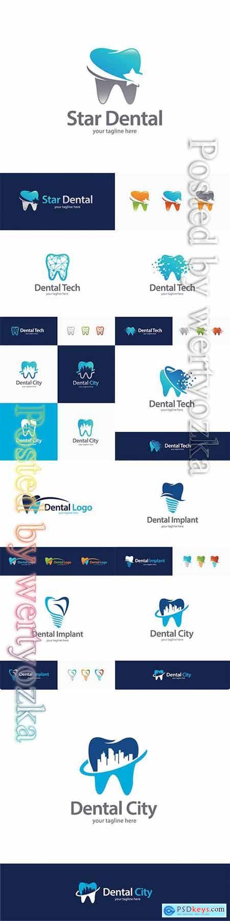 Dental logo collection vector illustration