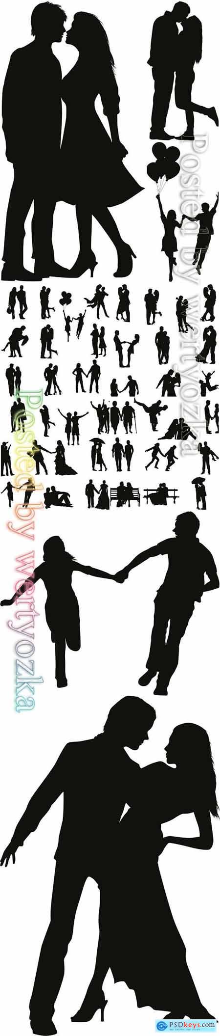 Romantic couple vector silhouette