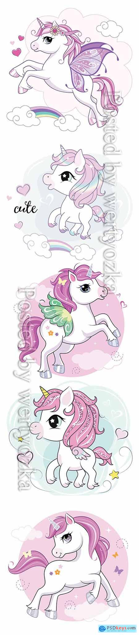 Cute little unicorn character on mint colored background