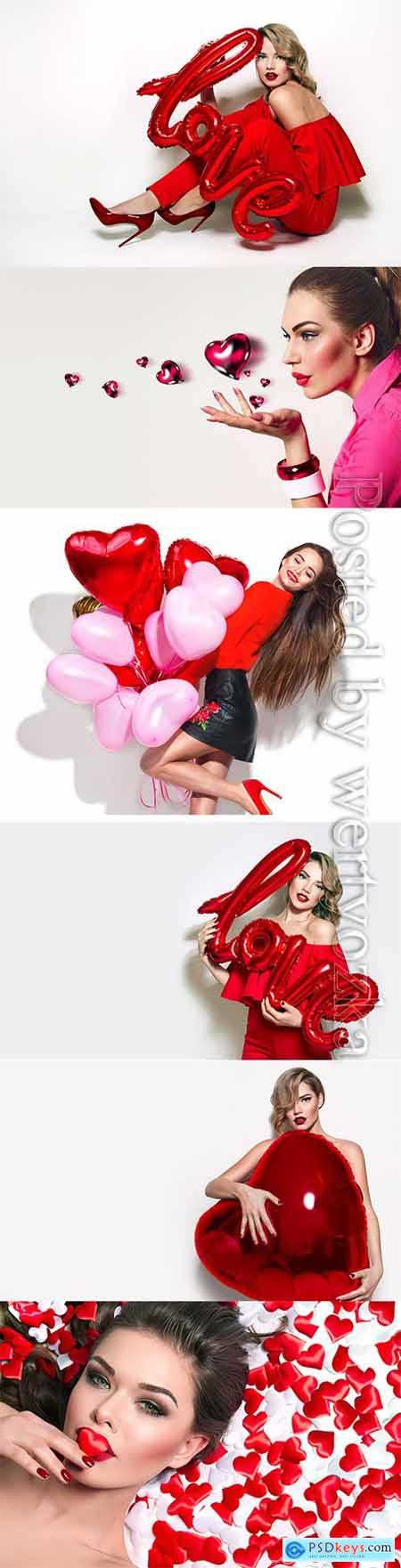 Girls with hearts balloons