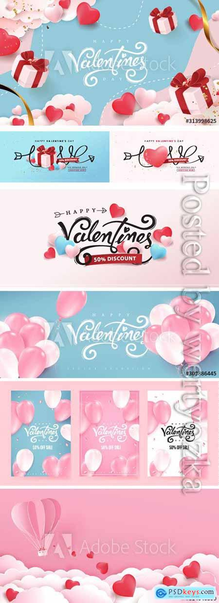 Valentines day background with heart shaped balloons and gift falling