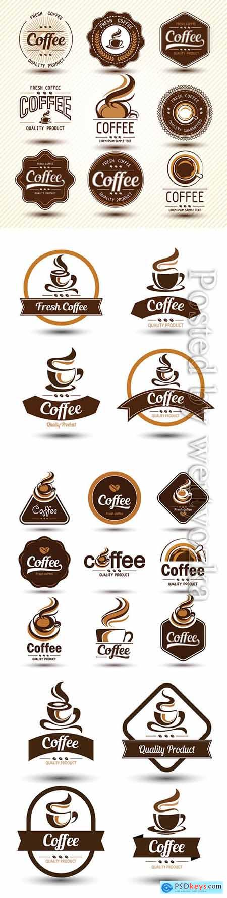 Coffee label collection vector illustration