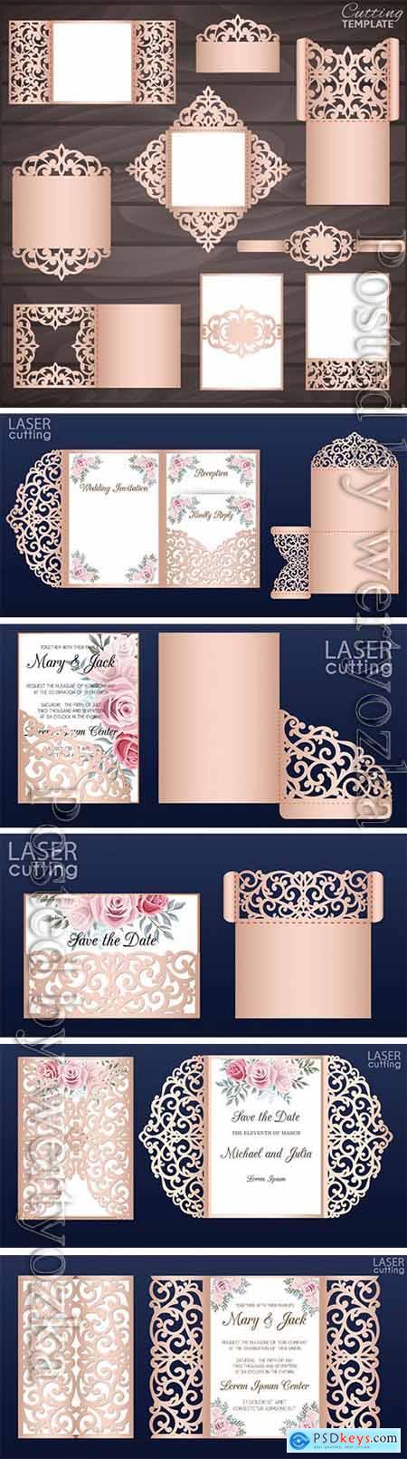 Wedding collection vector cards, invitation, envelopes